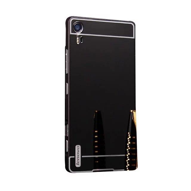 Plating Mirror Aluminum Metal Bumper + Acrylic Alloy Plastic Back Cover For Lenovo Vibe Shot Z90 Z90-7 Z90-3 5.0 Phone Cases