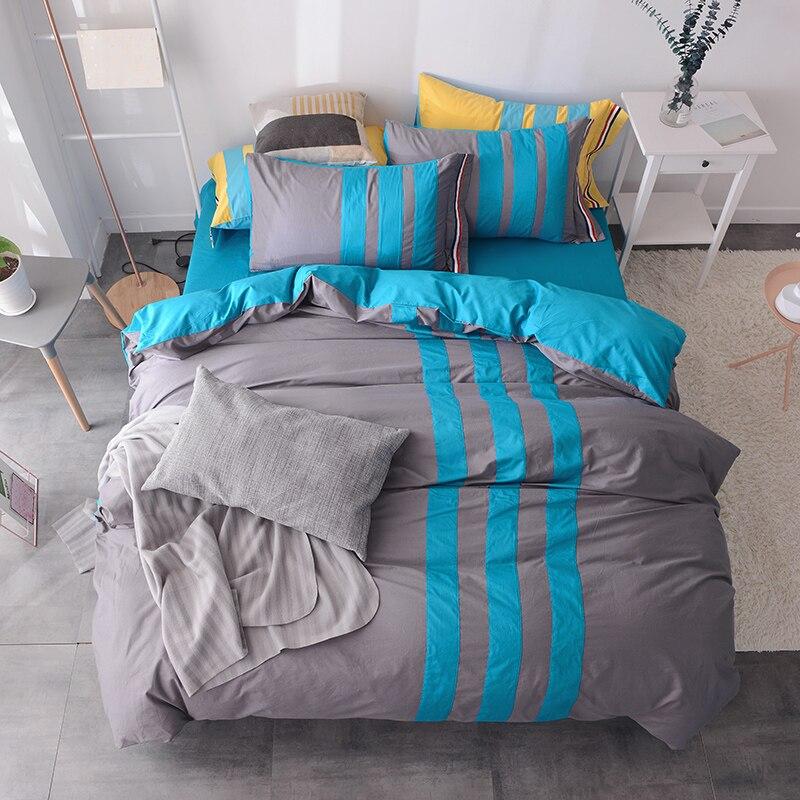 100%Cotton blue gray Brown Plaid Stripe Bedding set 4Pcs twin King Queen size Bed sheet flat sheet Bed set Duvet/Quilt cover set