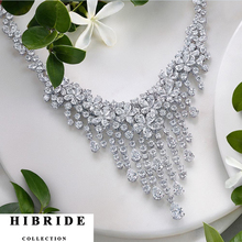 HIBRIDE Luxury Shiny Crystal CZ Stone Pendant Necklace Women Jewelry Sets Trendy Style For Female Party Gifts  N-216