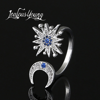 Luxury Blue Star Moon Rings For Women Inlay Zirconia Stone Engagement Ring For Girl Party Fashion