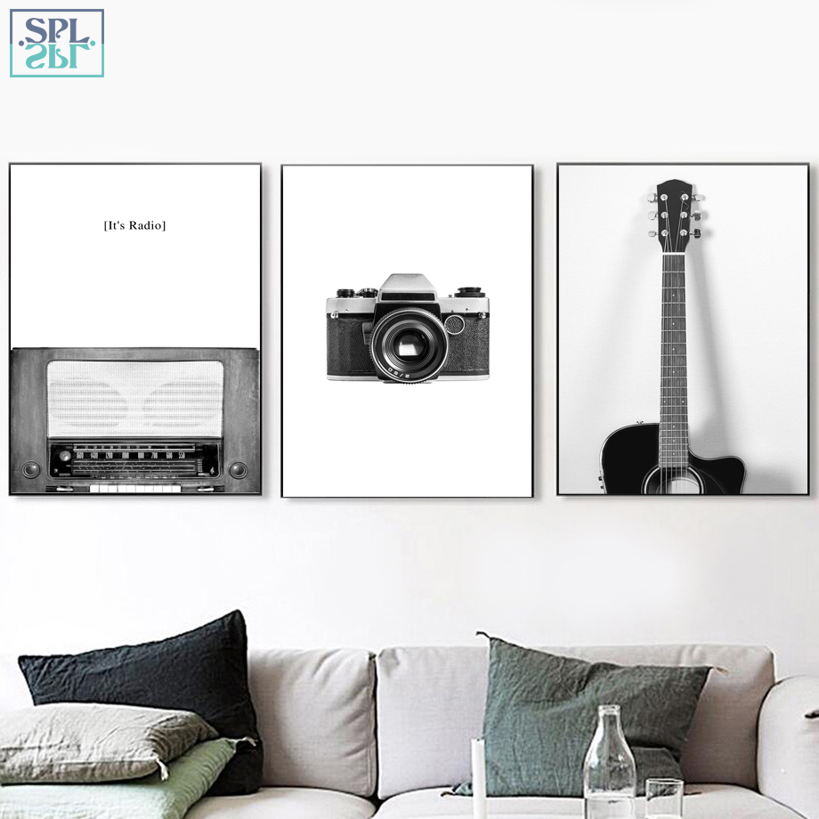 SPLSPL Camera Guitar Canvas Painting Nordic Posters And Prints Wall Art Canvas Prints Wall Pictures For Living Room Home Decor