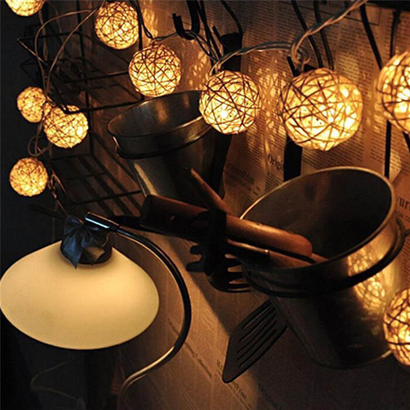 Image 3 - 2M Rattan Ball LED String Light Warm White Fairy Light Holiday Light For Party Wedding Decoration Christmas Lights Garland-in LED String from Lights & Lighting on