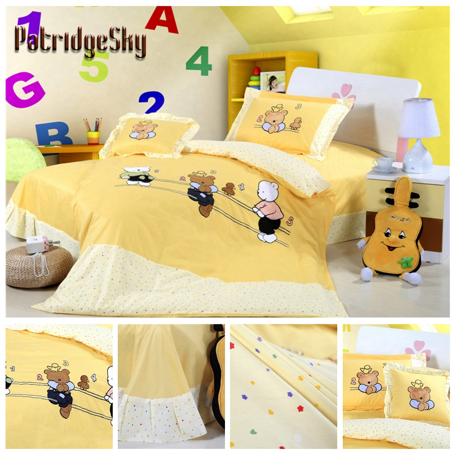 online buy wholesale modern boys bedding from china modern boys  -  cotton applique embroidery cartoon bears pcs children bedding setduvet cover set bedcover pillow