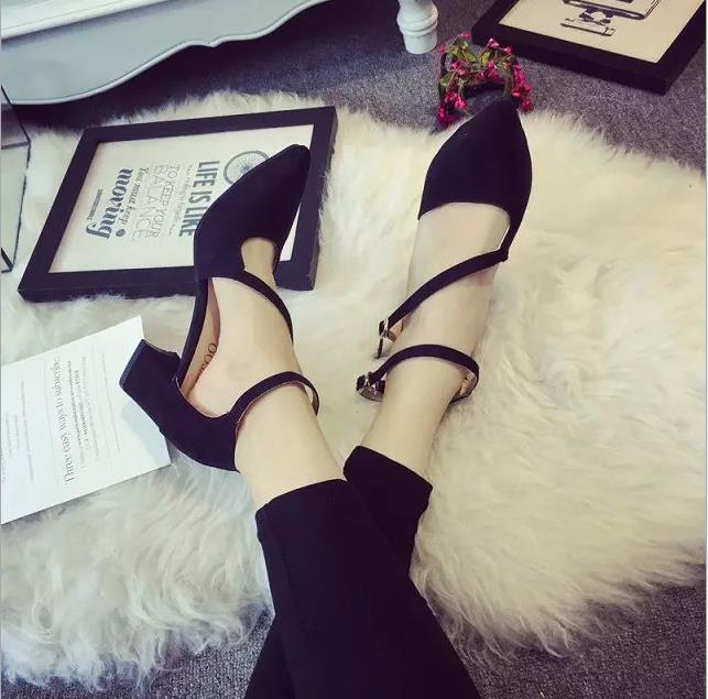 Con Mujeres Las De gris Hebilla Baja Zapatos La Negro Tacón Inclinación 2018 Coreana Nuevos Dulces Señaló Alto Salvajes Boca Doble Versión Otoño ZqTn4Aw
