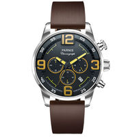 Parnis Pilot IIV Seriers Luminous Mens Silicone / Leather Watchband Army Sport Chronograph Quartz Watch Wristwatch