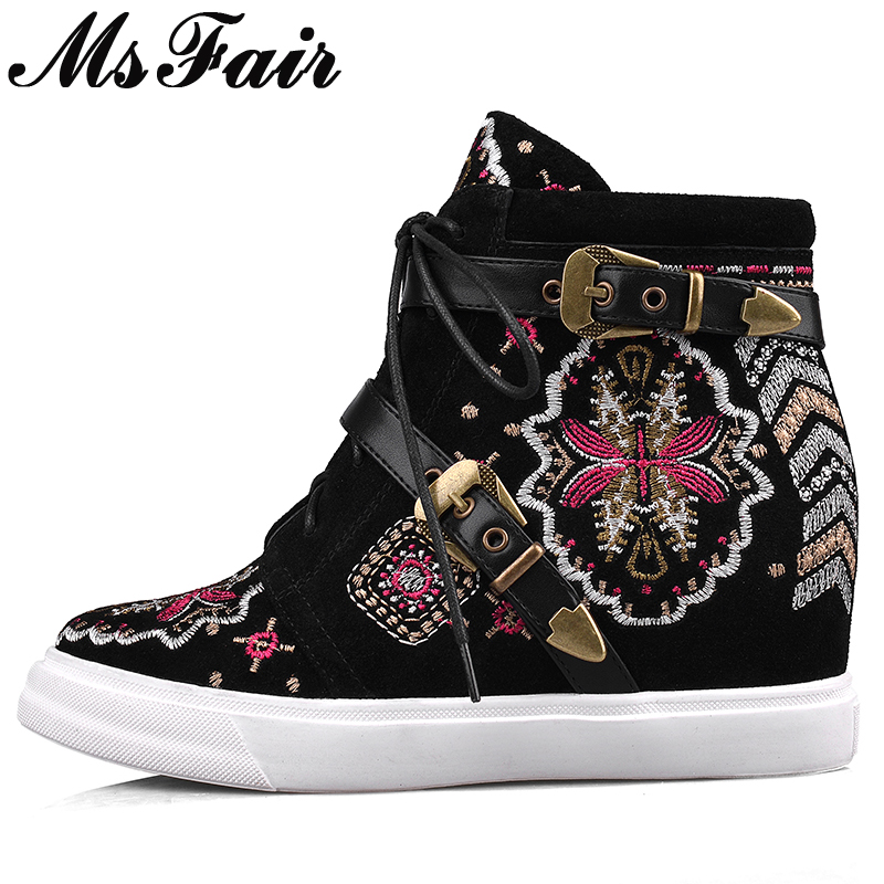 MsFair Round Toe Embroider Women Flats Cross Tied Flower National wind Ladies Flat Shoes Height Increasing Buckle Women's Flats vintage embroidery women flats chinese floral canvas embroidered shoes national old beijing cloth single dance soft flats