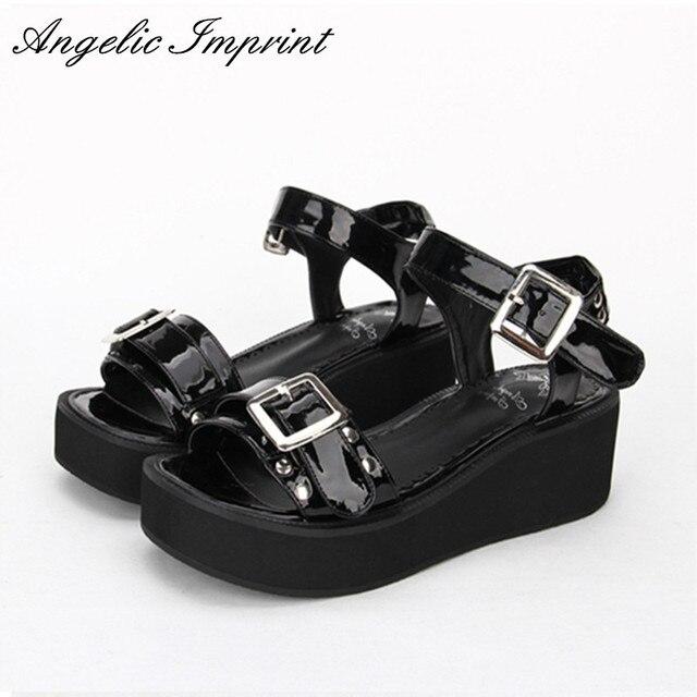 a23aebbede 7cm Wedge Platform Punk Lolita Sandals Buckle Strap Black Leather Summer  Shoes