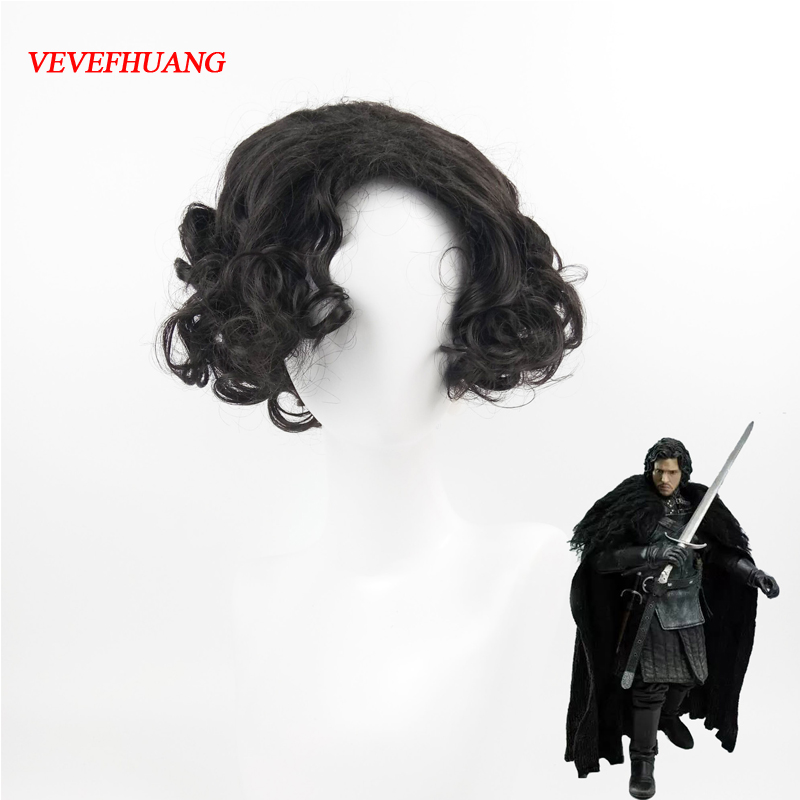 VEVEFHUANG Game of Thrones Cosplay Wig Jon Snow Men Black Curly Short Synthetic Hair Adult