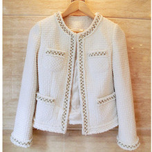high quality women's knitted jacket winter fashion runway classic white cute beading oversized plus short jacket coat outwear