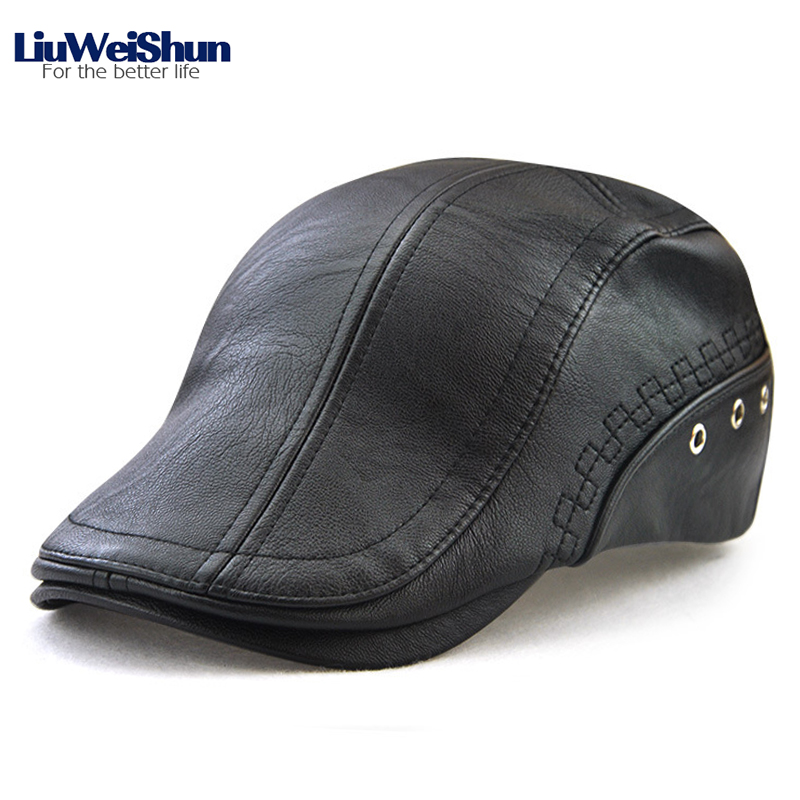 Winter Solid Black PU Leather Visor Hat European Fashion Perforated Cap Embroidered Embellished Personality Trend Casual Dad Cap