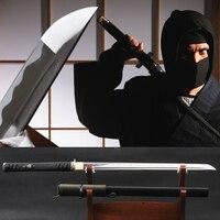 SHI JIAN Real Sharp Japanese Samurai Ninja Sword 1060 Carbon Steel Straight Blade Bo hi Full Tang Wakizashi Japan Style Decor