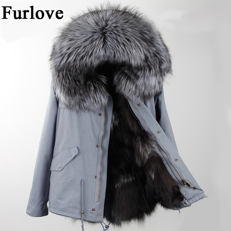 New Winter Jacket Women Parka Short Coat Real Raccoon Fur Collar Thick Warm Hooded Jackets Natural Fox Fur Lining Fashion Parkas real fox fur liner winter jacket women new long parka real fur coat big raccoon fur collar hooded parkas thick outerwear