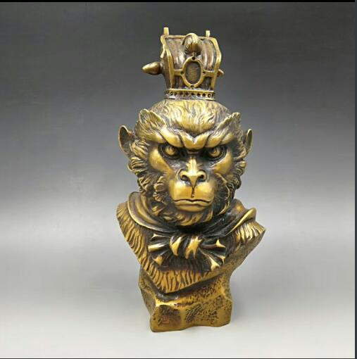 China Bronze Folk Sun Wu Kong monkey King Head Bust sculpture Statue