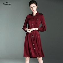 Spring Clothing Womens Fashion Party Dresses Turn down Collar Copper Ammonia Silk Plus Size Women Clothing