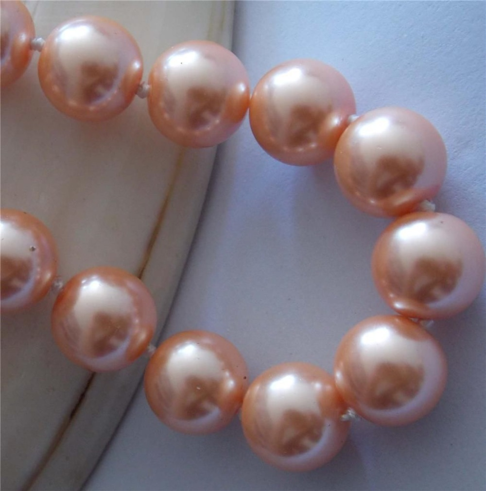 Beautiful free shipping 12mm orange shell simulated-pearl round beads chains necklace for women party gifts jewelry 18inch BV255