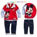 2015 nuevos niños de Mickey sistema ocasional camisas y pantalones de moda del bebé que arropan la historieta Mouse ropa niños que arropan el sistema