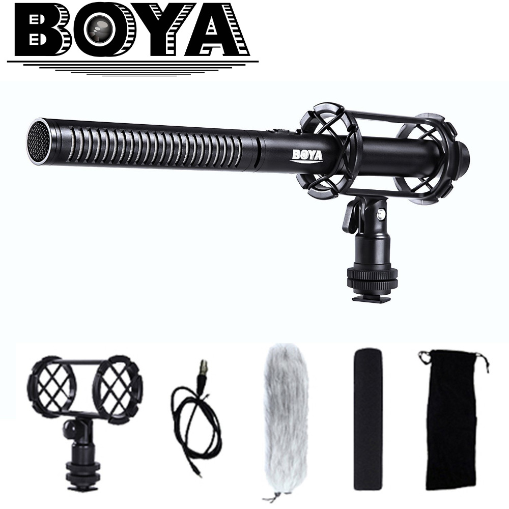 BOYA BY-PVM1000 Professional Condenser Interview Shotgun Microphone for Sony DV Pentax Camcorder Canon Nikon Video DSLR Camera 24v 1ch rf wireless remote switch wireless light lamp led switch receiver