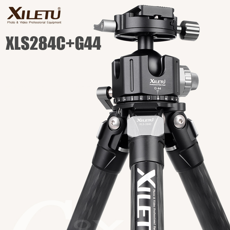 XILETU XLS284C+G44 Carbon Fiber Tripod Professional Photography Camera Tripod Stand Double Panorama Ball Head for DSLR Tripode