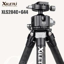XILETU XLS284C + G44 Fotografia De Fibra De Carbono Tripé Profissional Tripé de Câmera Suporte Duplo Panorama Bola de Cabeça para DSLR Tripode