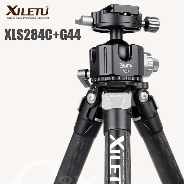 XILETU XLS284C + G44 statyw z włókna węglowego profesjonalna fotografia statyw kamery stojak podwójna Panorama głowica kulowa do DSLR Tripode
