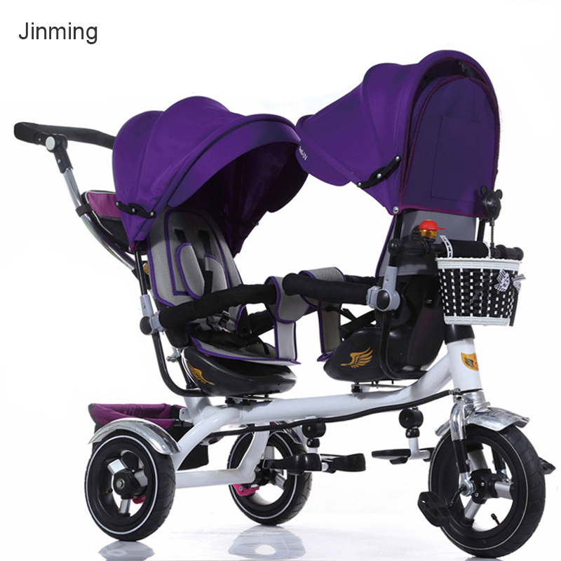 Baby twins car seat can be rotated BB tricycle double foot pedal child bike high landscape tricycle Back seat can lying  trolley
