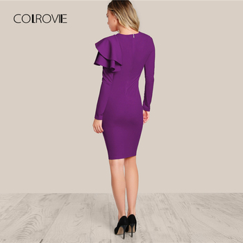 COLROVIE Purple One Side Tiered Ruffle Trim Party Dress Slim Elegant Bodycon Dress Long Sleeve Women Dresses 1