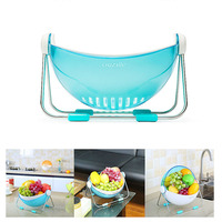Creative Round Plastic Drain Storage Basket Organizer Home Living Room Kitchen Fruit Snacks Debris Dust Storage Basket