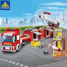 491Pcs City Fire Rescue Vehicle Forest Fire Truck Building Blocks  Firefighter Playmobil Toys for Children цена 2017