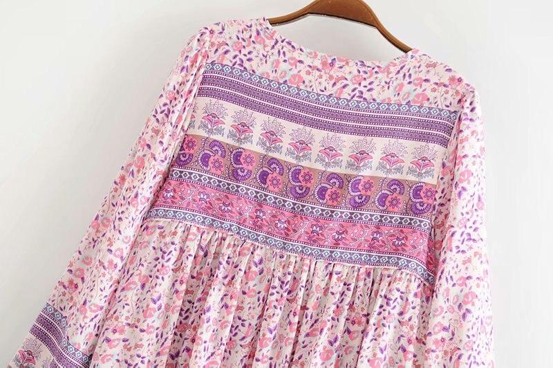 Image 5 - Женское платье с длинным рукавом, винтажное мини платье с длинным рукавом и цветочным принтомПлатья   -