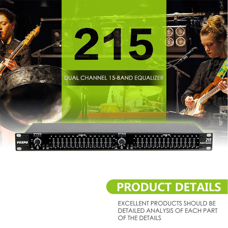 digital karaoke audio dsp effectro stereo amplifier equalizer EQ 215 Dual Channel 15-Band Equalizer