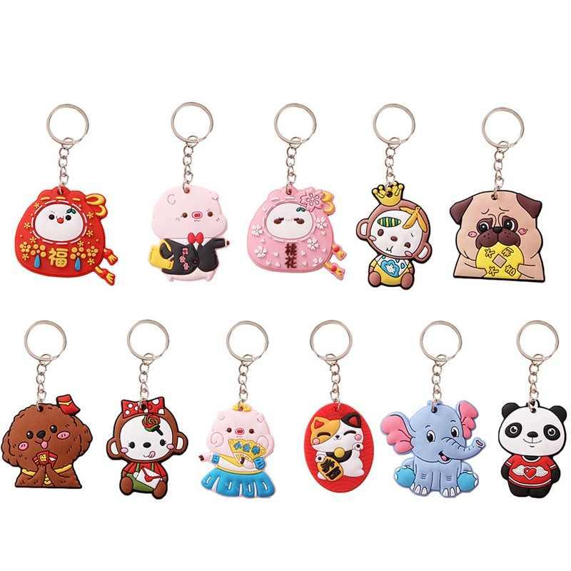 สัตว์น่ารักพวงกุญแจยางนุ่มน่ารักแพนด้าแมวสุนัขลิง Key Ring ผู้หญิงกระเป๋า Charms กุญแจ Lucky ของขวัญของเล่น