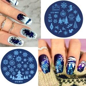 Image 2 - Рождественские пластины для стемпинга ногтей, снежинка, олень, зимняя пластина для изображения, сделай сам, дизайн ногтей, трафареты для маникюра, инструменты для маникюра, 1 шт.