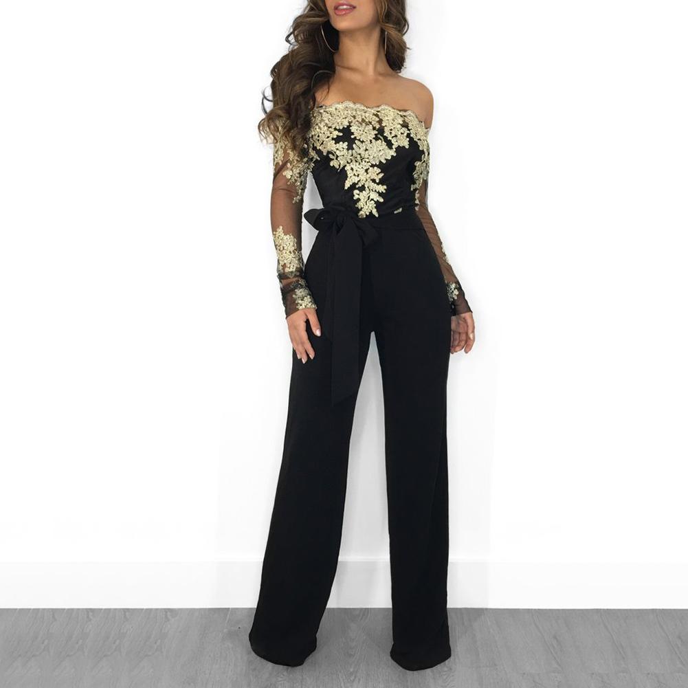 Fashion Lace Off-shoulder Long Sleeve Wide Leg Cocktail Party Women   Jumpsuit   sexy
