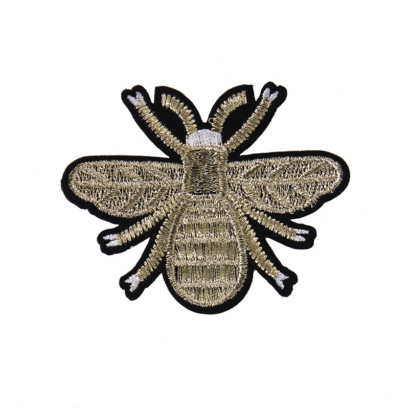 Pieces gold bee patch design embroidery animal applique