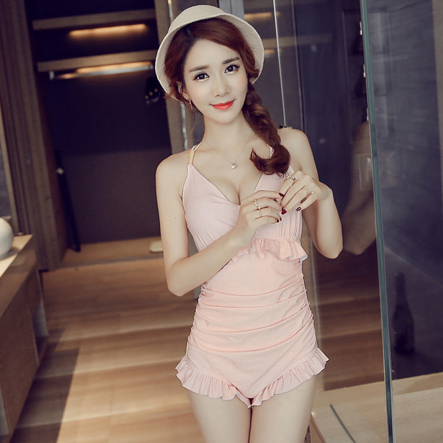 STAR MENG 2017 new cute swimsuits for women girl skirt sexy siamese lady gather thin cover belly conservative one-piece