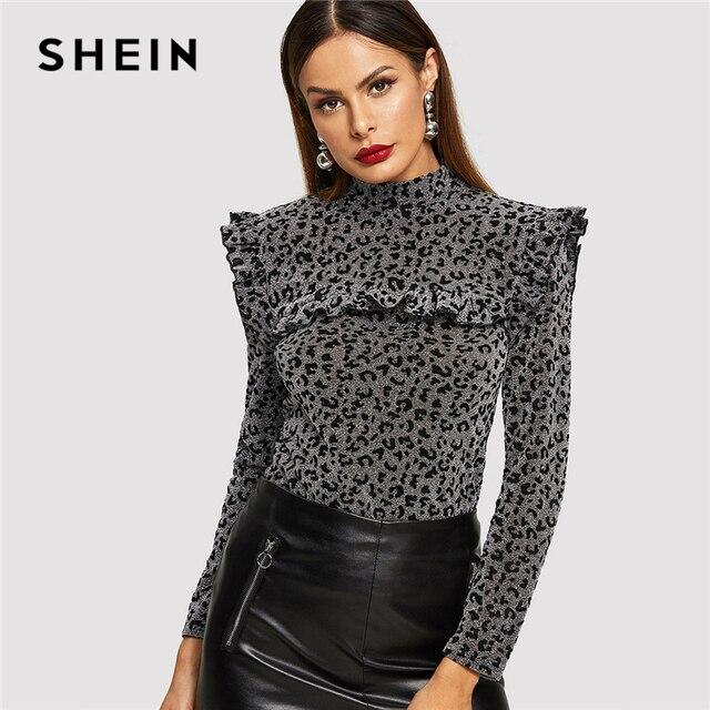 c58fc1e143 SHEIN Multicolor Going Out Highstreet Elegant Mock Neck Stand Collar  Leopard T-Shirt Autumn Women