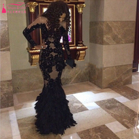 Arabic 2015 Sexy Evening Gown Black Mermaid Applique Vestido de formatura Lace prom dresses long sleeve Sheer neck  gown Z080