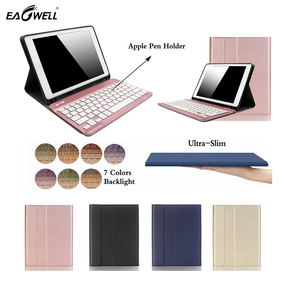 7 Colors Backlit Light Detachable Wireless Bluetooth Keyboard + Case For iPad 9.7 2017/2018 For iPad Pro 9.7 For iPad Air/Air2