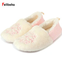 68b1247ad FELIBEKA Cute Snow Winter Warm Slippers For Women Pink Gray Indoor At Home  Shoes For Laids