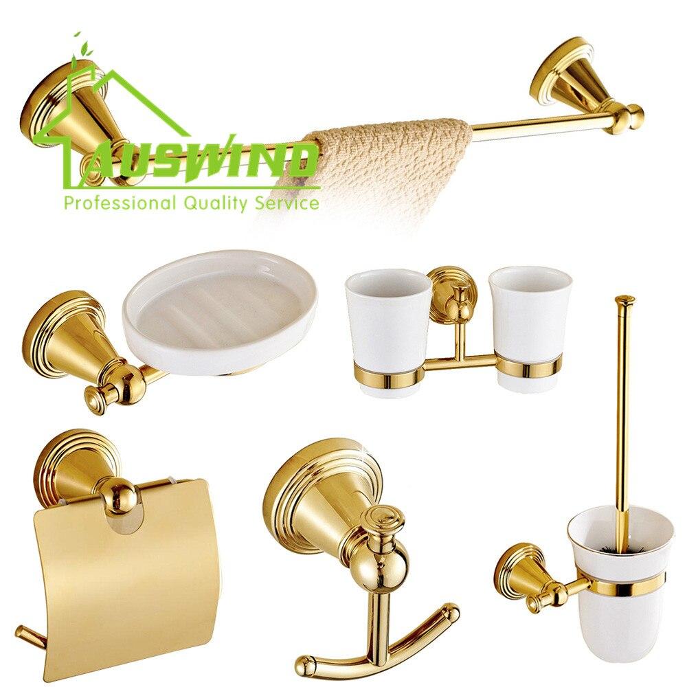 European Bathroom Accessories - European gold carved bathroom accessories sets antique round base solid brass bathroom accessories sets polished bath