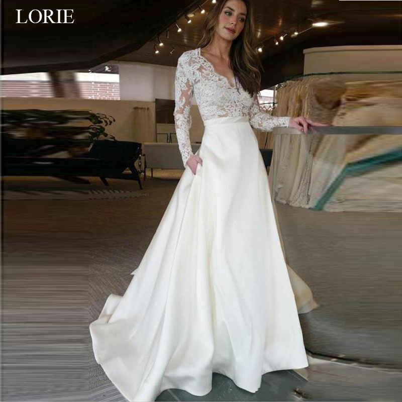 LORIE Long Sleeve Wedding Dress V Neck A Line Appliques Lace Top Satin Skirt Wedding Gown