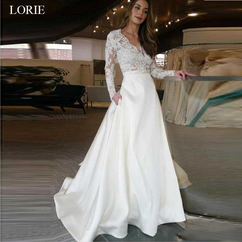 LORIE Long Sleeve Wedding Dress V Neck A Line Appliques Lace Top Satin Skirt Wedding Gown with Pocket Custom Made Bride Dress