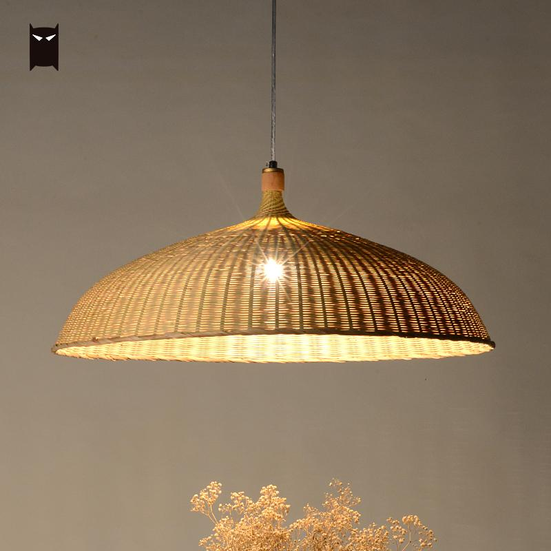 47/63cm Bamboo Wicker Rattan Shade Pendant Light Fixture Asian Rustic Hanging Ceiling Lamp for Office Counter Dining Table Room