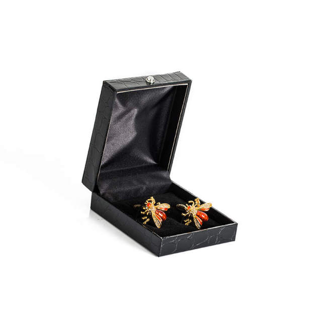 Crocodile pattern Leather Cufflinks Case box