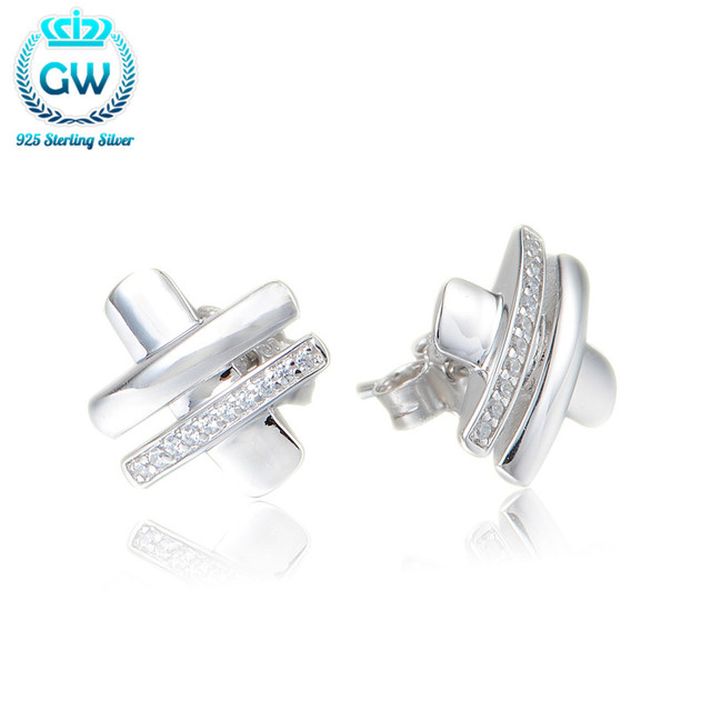 76b21d228 Real Pure 925 Silver Earrings Simple Design Jewelry Pave Cubic Zirconia  Earring For Women Brand GW Jewellery Er1034