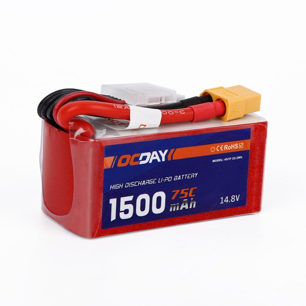 OCDAY 14.8 v 1500 mah 75C Lipo Batterie XT60 Plug pour 150-280 Raing Quacopter