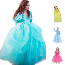 Little Mermard Dress for Girl Princess Ariel Jasmine Cinderella Belle Child Floral Fancy Costume Kids Party Birthday Gown