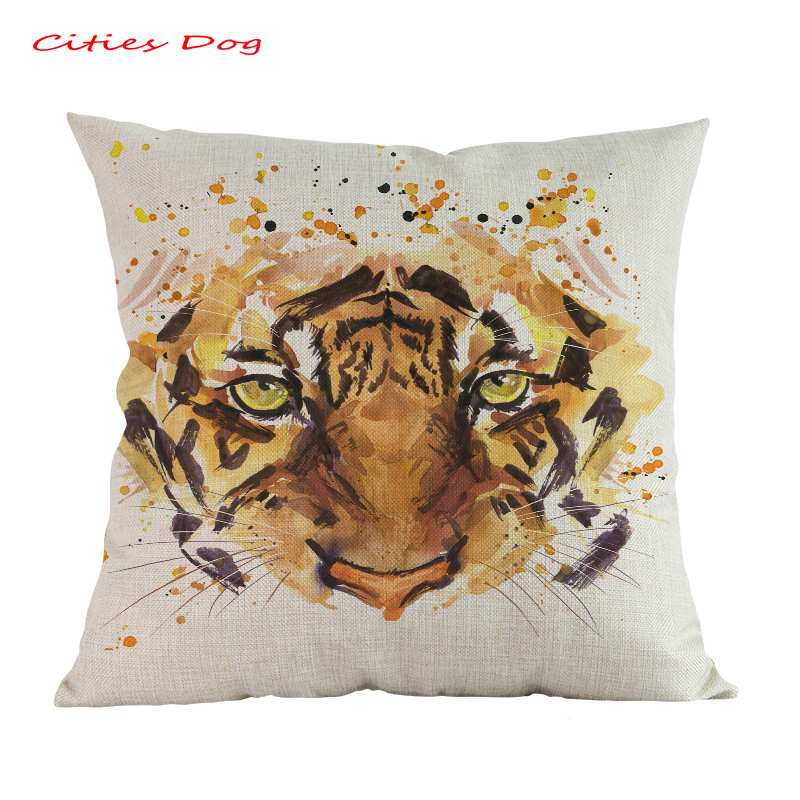Cojines Tiger.Us 5 59 30 Off Animal Tiger Head Watercolor Pattern Pillow Cushion Cojines Decorativos Para Kussenhoes Linen Almofada Pillowcase Factory Outlet In