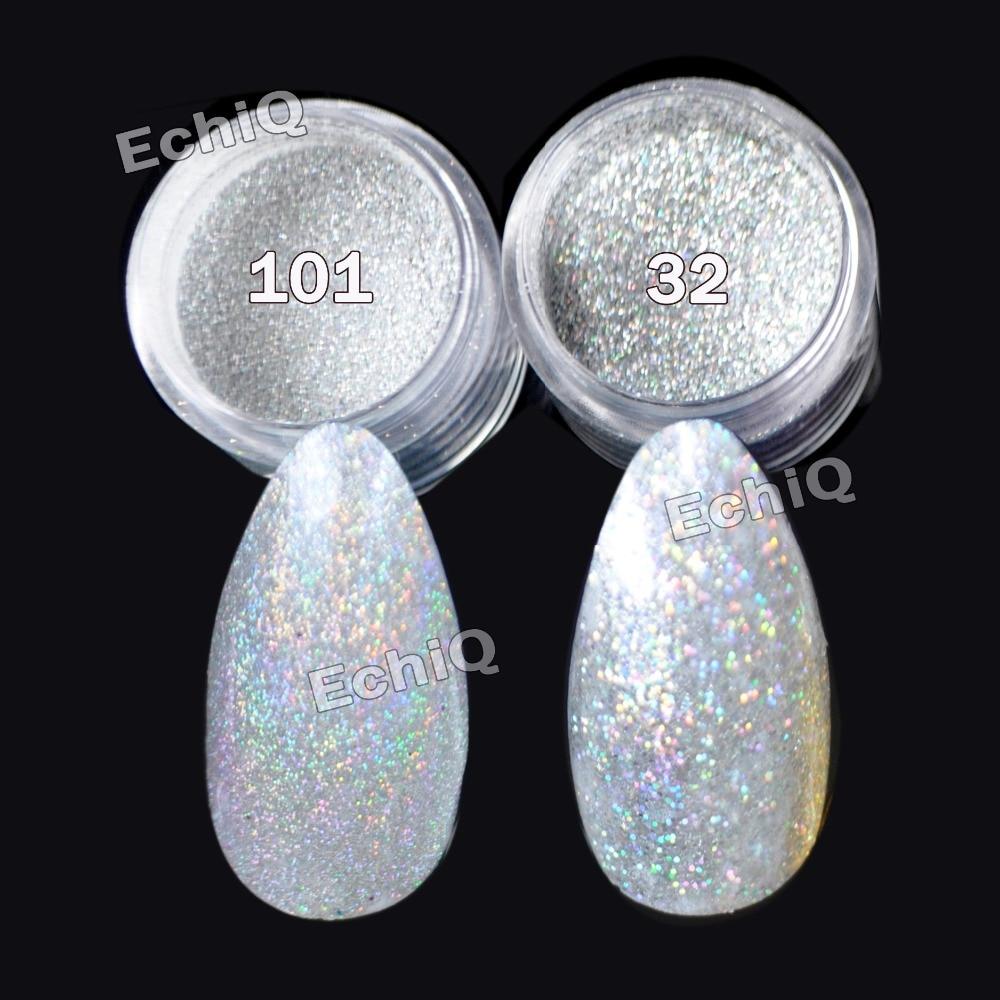 Holographische Laser Silber Glitter UV Nail Art Pulver Feinstaub - Nagel Kunst - Foto 2