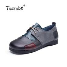 Tastabo Модная обувь на плоской подошве для женщин натуральная кожа обувь Женская Лоскутная обувь на плоской подошве Мокасины Повседневная обувь для дам размеры 42, 43